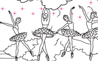 Zum Ausdrucken: Die verzauberten Ballettschuhe Ausmalseite 2