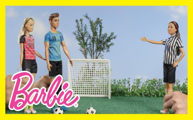 Barbie® vs. Ken™ in a Soccer Challenge