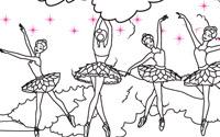 可打印文件: 《芭比之粉红舞鞋》填色画2